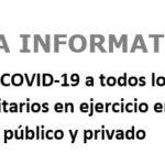 NOTA INFORMATIVA sobre vacunación COVID-19 a todos los TSS en ejercicio en los sectores público y privado